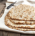 Sesame seeded flatbread on table Stock Photography