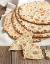 Sesame seeded flatbread on table Stock Photo