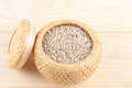 Sesame seeds in basket on the wood Royalty Free Stock Image