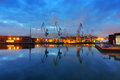 Sestao cranes from Erandio at night Royalty Free Stock Photo