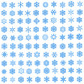 Set of 100 unique blue snowflakes in fractal style Stock Image