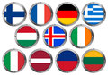 Set of 11 Flags in Round Metal Frame-Europe 2 Stock Photography