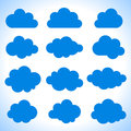 Set of 12 blue clouds Royalty Free Stock Photos