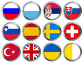 Set of 12 Flags in Round Metal Frame-Europe 4 Royalty Free Stock Photos
