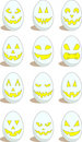 Set of 12 funny eggs for Easter Stock Image