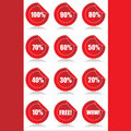 Set of 12 Glossy sales tags stickers with discount Royalty Free Stock Photography
