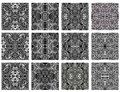 Set of 12 monochrome modern seamless patterns Royalty Free Stock Photography