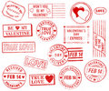 Set of 15 Valentine's Day Stamps Stock Photography