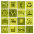 Set of 16 green icons Royalty Free Stock Photo