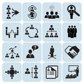 Set of 16 management and human resources icons Stock Photos
