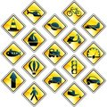 Set of 17 yellow traffic and transportation icons Royalty Free Stock Image
