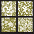 Set 2 of seamless vintage floral pattern Royalty Free Stock Photos