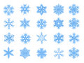 Set of 20 blue snowflakes in sketch style Royalty Free Stock Photo