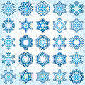 Set of 25 a six-rays crystal gradient snowflakes. Royalty Free Stock Images