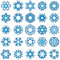 Set of 25 a six-rays crystal gradient snowflakes. Royalty Free Stock Photo