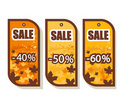 Set of 3 autumn sale tags Royalty Free Stock Photography