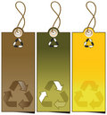Set of 3 sale tags with recycling illustration Royalty Free Stock Photography