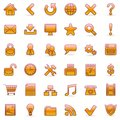 Set of 36 orange icons for Web. Stock Photos