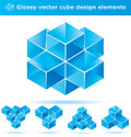Set of 3d cube designs Royalty Free Stock Photo