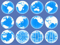 Set of 3d globe icons showing earth with all continents Royalty Free Stock Photography