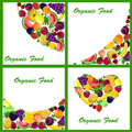 Set of 4 backgrounds with fruits vector Royalty Free Stock Photography