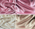 Set of 4 draped satin backgrounds Stock Photo