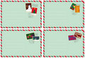 Set of 4 envelopes with Christmas stamps
