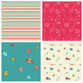 Set of 4 seamless backgrounds - Sewing kit Stock Photography