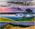 Set of the 4 seasons landscape Royalty Free Stock Photography