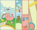 Set of 4 vertical baby themed banners Royalty Free Stock Photography