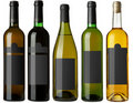 Set 5 bottles with black labels Royalty Free Stock Photos