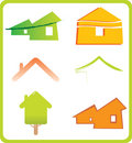 Set of 6 building real estate icons and design ele Stock Photos