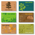 Set of 6 Business Cards in Green and Brown Royalty Free Stock Photography
