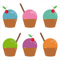 Set of 6 cakes icons Royalty Free Stock Image
