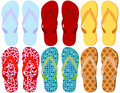 Set of 6 Colorful Sandals Stock Images