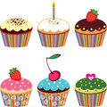 Set of 6 cute cupcakes Stock Photography