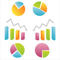 Set of 6 diagram icons Stock Photo