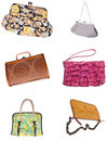 Set of 6 Ladies Purses Handbags Stock Image