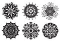 Set of 6 Mandalas - Flower / Nature Mandalas Royalty Free Stock Photography
