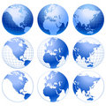 Set of 9 blue icons of Earth. Stock Photography
