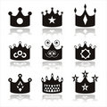 Set of 9 crown icons Stock Photos
