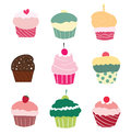 Set of 9 cute cupcakes Royalty Free Stock Images
