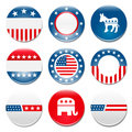 Set of 9 election campaign badges Stock Photo