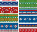 Set of 9 knitted ornamental seamless patterns. Royalty Free Stock Photo