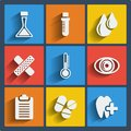 Set of 9 medical web and mobile icons. Vector. Royalty Free Stock Photos