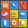 Set of 9 medical web and mobile icons. Vector. Royalty Free Stock Photo