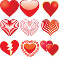 Set of 9 red hearts Stock Photo