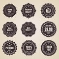Set of 9 retro detailed premium quality labels Stock Photo