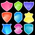Set of 9 Shields Royalty Free Stock Images