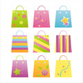 Set of 9 shopping bag icons Stock Photography